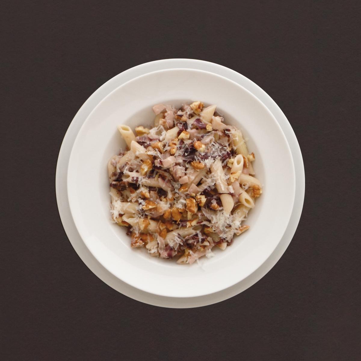 penne rigate mit gorgonzola birne und waln ssen rezept kochhaus. Black Bedroom Furniture Sets. Home Design Ideas